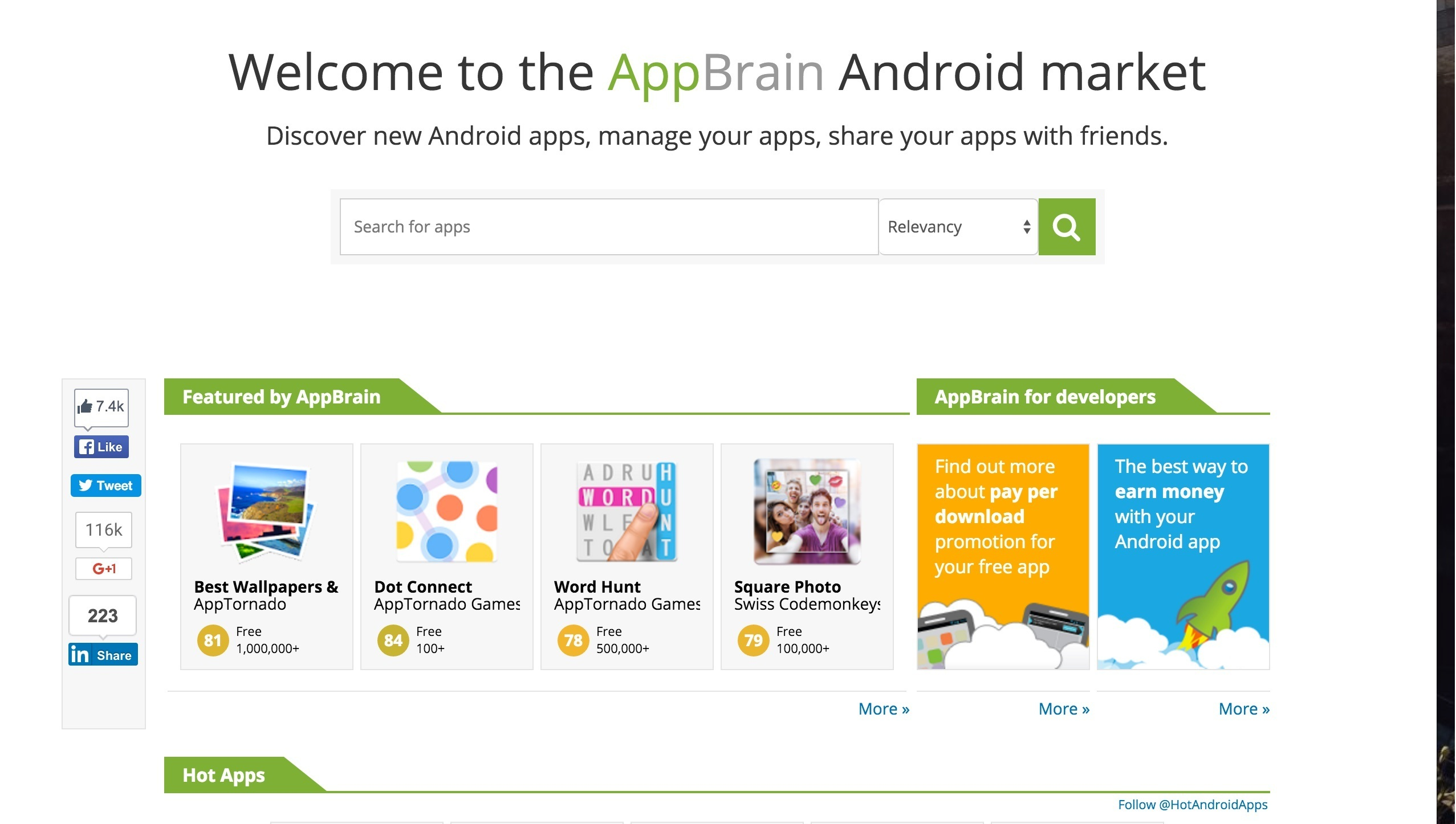 AppBrain - alternativa a Google Play Store