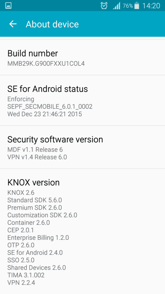 Galaxy S5 con Android 6