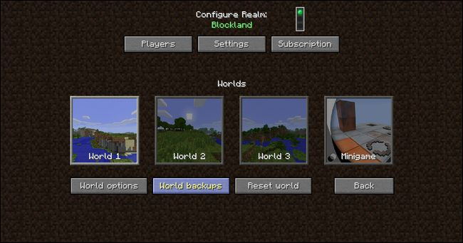 Copias de seguridad Minecraft Realms