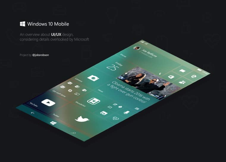 Concepto de Windows 10 Mobile