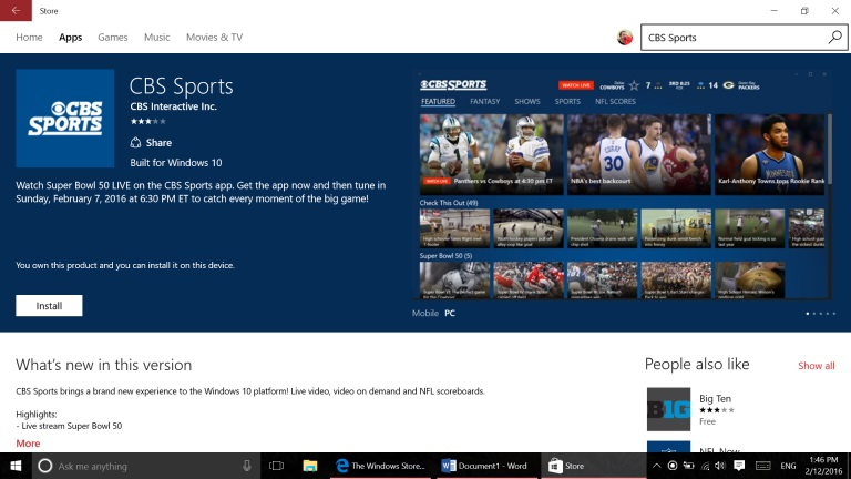 "La app de CBS Sports luce la etiqueta ""Built for Windows 10"""