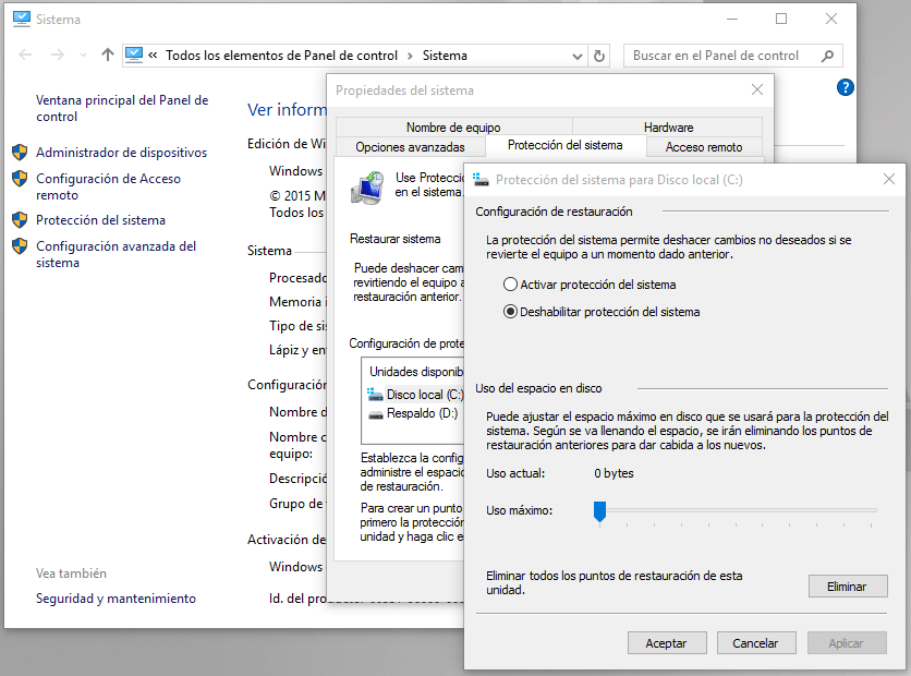 proteccion Windows 10