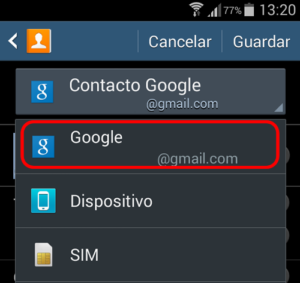 guardar contactos en gmail android