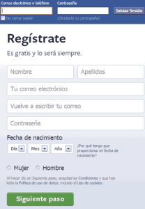 Feisbuck registrarse
