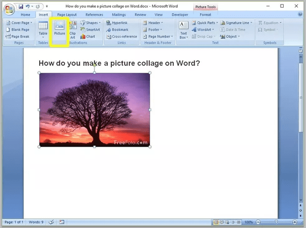 crear un collage de fotos en word